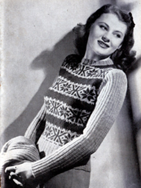 Teen-Age Fair Isle Jumper. Weldons Fair Isle's for the Family (1940's)