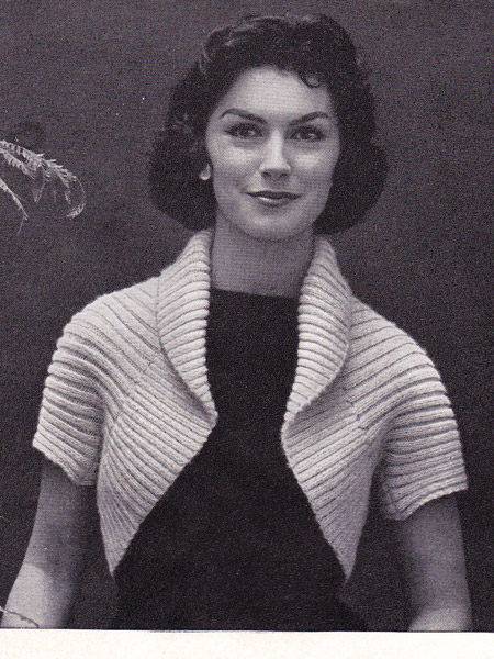 Knitting Pattern 50s Ribbed Shrug Zilredloh