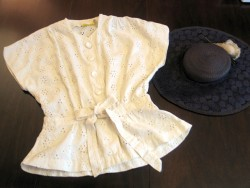 Cream Eyelet Blouse &amp; Navy Hat