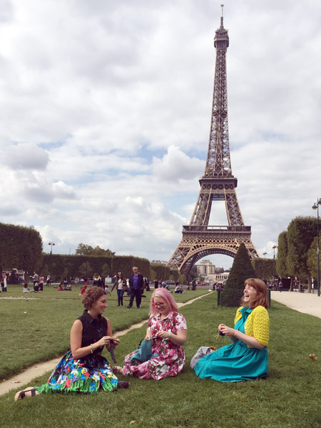 Knitting at the Eiffel Tower